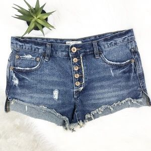 FREE PEOPLE | 26 Five Button Distressed Shorts